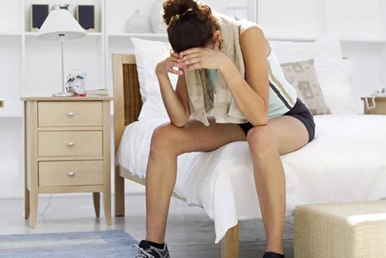 mulher treino cansada