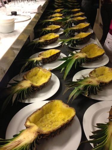 fila de abacaxis