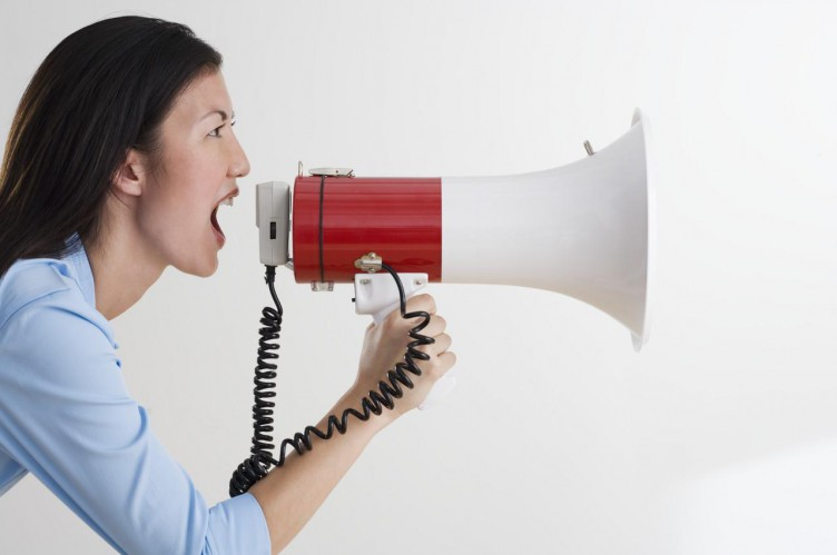 Woman Shouting with Bullhorn