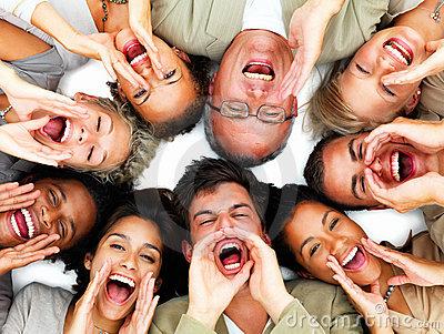 group-of-people-yelling-hey