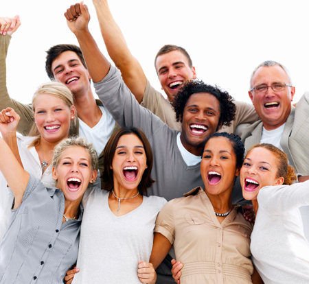 portrait-of-a-group-of-business-people-laughing-against-white-ba