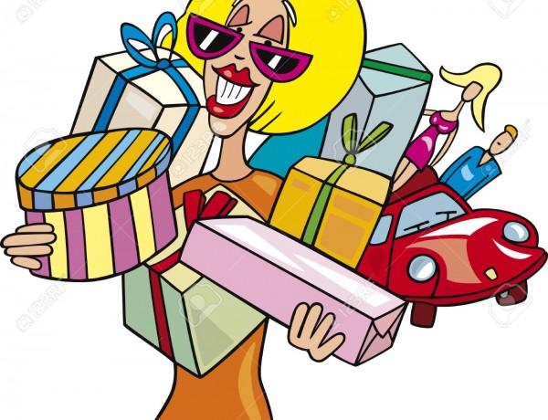 Cartoon-illustration-of-Woman-on-shopping-Stock-Vector-funny