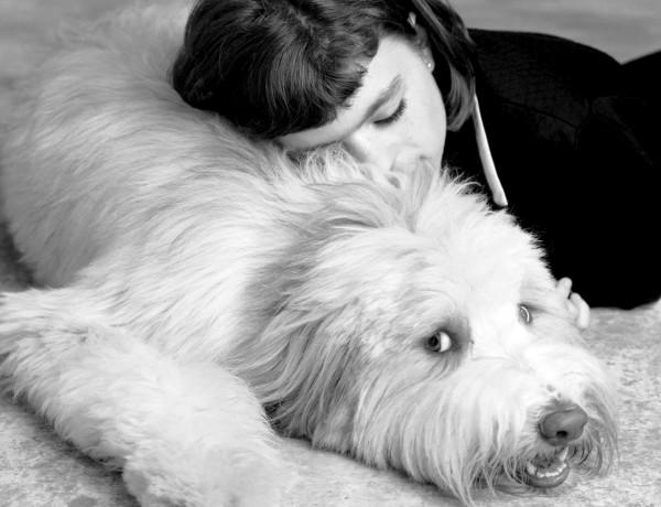girl with shaggy dog