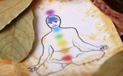 Traditional alternative therapy or medicine, also concept of healthy lifestyle, silhouette of man with chakras
