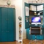 O armário, quando aberto, vira um pequeno escritório!