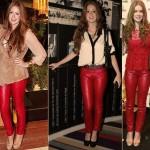 Quem disse que a calça de couro vermelha é muito marcante? Dá pra usar quantas vezes quiser, como mostra Marina Ruy Barbosa