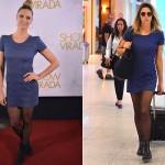 Fernanda Lima com o mesmo vestido no tapete vermelho e no aeroporto