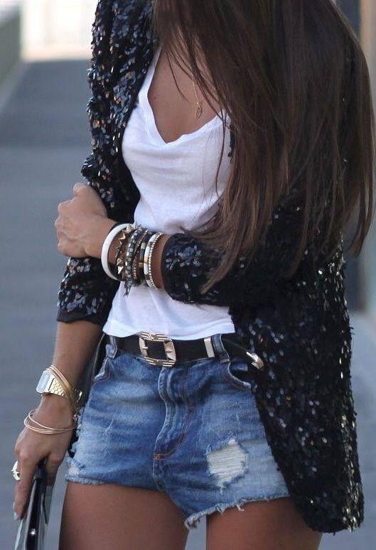 Short jeans + paetê