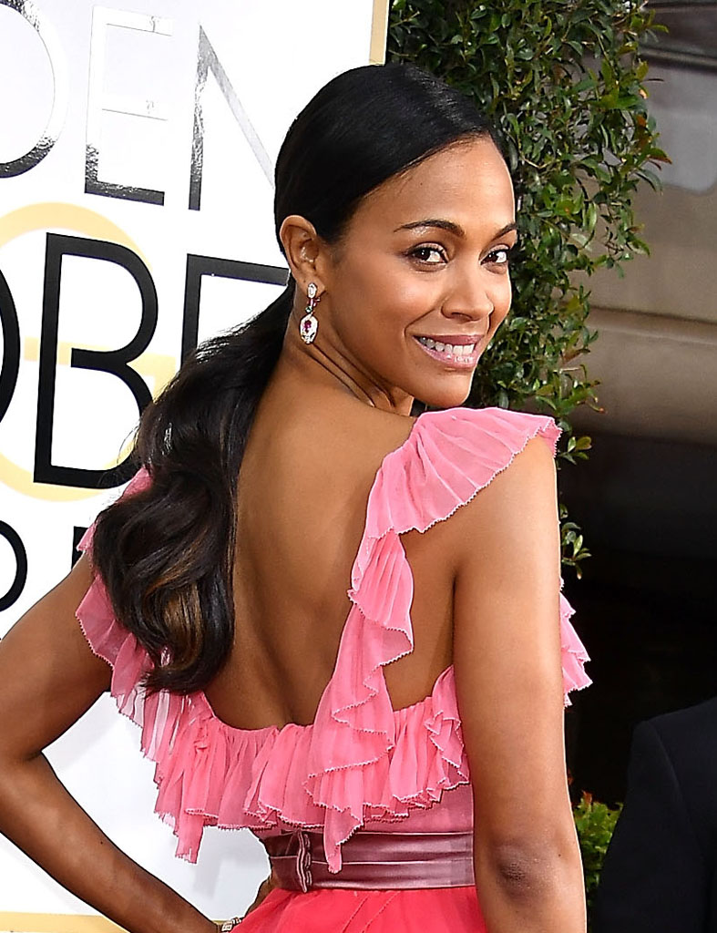 BEVERLY HILLS, CA - JANUARY 08: Zoe Saldana arrives at the 74th Annual Golden Globe Awards at The Beverly Hilton Hotel on January 8, 2017 in Beverly Hills, California. (Photo by Steve Granitz/WireImage)