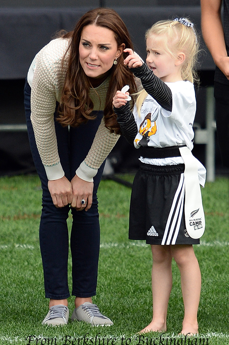 The Duke and Duchess of Cambridge attend a young players' 'Rippa Rugby' Tournament at Forsyth Barr Stadium, Dunedin, New Zealand as part of their tour of New Zealand and Australia on April 13, 2014.Pictured: Catherine, Duchess Of CambridgeRef: SPL738022 130414 Picture by: James Whatling / Splash NewsSplash News and PicturesLos Angeles:310-821-2666New York:212-619-2666London:870-934-2666photodesk@splashnews.com