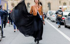 PARIS, FRANCE - MARCH 04: Christina Pitanguy is wearing a black maxi skirt and black leather jacket outside Dior during the Paris Fashion Week Womenswear Fall/Winter 2016/2017 on March 4, 2016 in Paris, France.  (Photo by Christian Vierig/Getty Images)