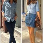 Olivia Palermo e a camisa jeans com saia e calça