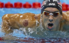 Michael Phelps of the US is seen with a red cupping mark on his shoulder as he competes in the Men's 4 x 100m Freestyle Relay Final at the 2016 Rio Olympics in Rio de Janeiro