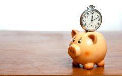 Clock on a piggy bank